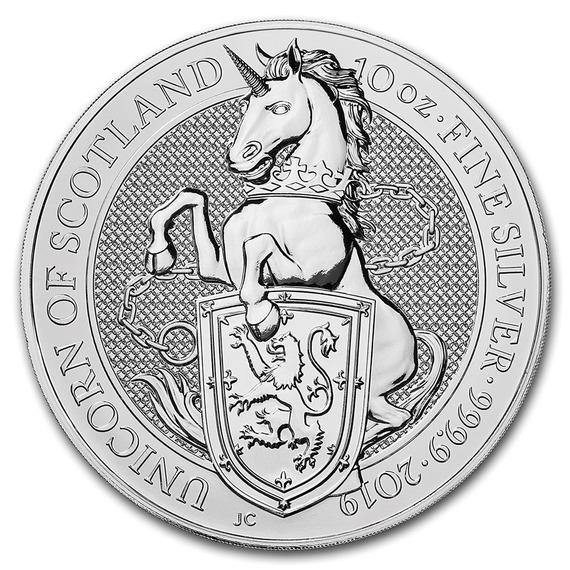 2019 イギリス クィーンズビースト:スコットランドのユニコーン 銀貨 10オンス プルーフ クリアケース付き 新品未使用