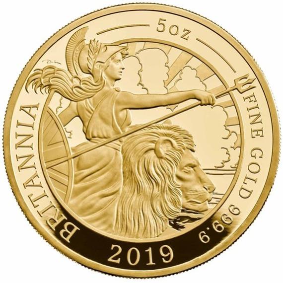 2019 イギリス ブリタニア 金貨 5オンス プルーフ 箱とクリアケース付き 新品未使用