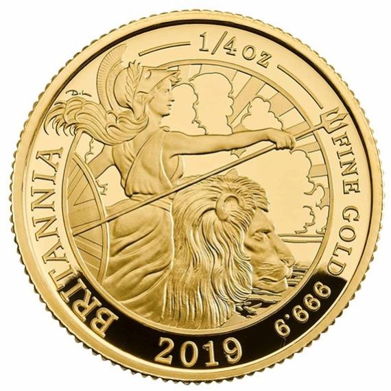 2019 イギリス ブリタニア 金貨 1/4オンス プルーフ 箱とクリアケース付き 新品未使用