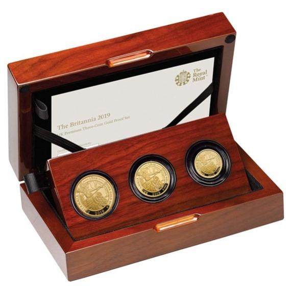 2019 イギリス ブリタニア 金貨 プレミアム3枚セット プルーフ 箱とクリアケース付き 新品未使用