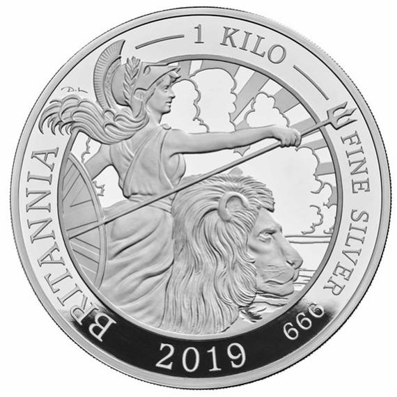 2019 イギリス ブリタニア 銀貨 1キロ プルーフ 箱とクリアケース付き 新品未使用