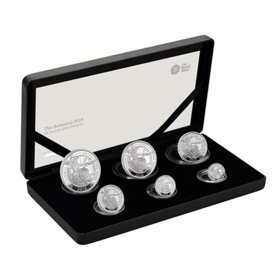 2019 イギリス ブリタニア 銀貨 6枚セット プルーフ 箱とクリアケース付き 新品未使用