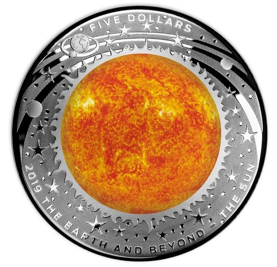2019 オーストラリア 地球とその彼方:太陽 銀貨 1オンス  プルーフ 箱とクリアケース付き 新品未使用