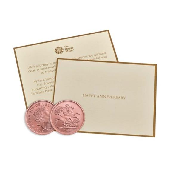 2019 イギリス ソブリン金貨 マット仕上げ 記念日カードと箱とクリアケース付き 新品未使用