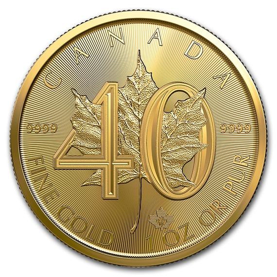 2019 カナダ メープルリーフ40周年記念金貨 1オンス 30mmクリアケース付き 新品未使用