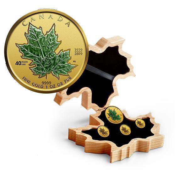 2019 カナダ メープルリーフ金貨40周年記念セット プルーフ 箱とクリアケース付き 新品未使用