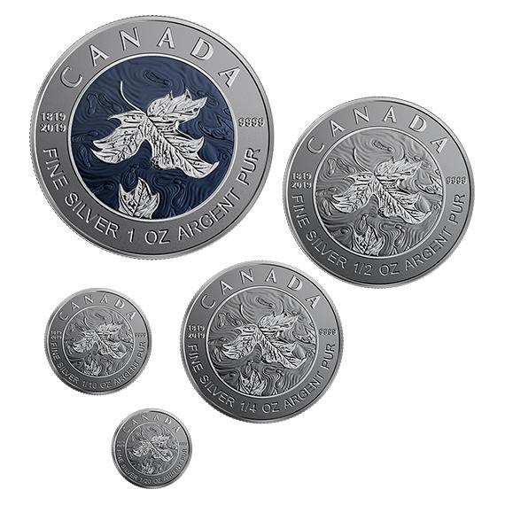 2019 カナダ ヴィクトリア女王生誕200周年記念 メープルリーフ補助銀貨5枚セット 反転プルーフ 箱とクリアケース付き 新品未使用