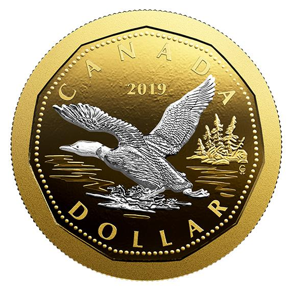 2019 カナダ 大型コインシリーズ:飛び立つハシグロアビ 金メッキ銀貨 5オンス  プルーフ 箱とクリアケース付き 新品未使用