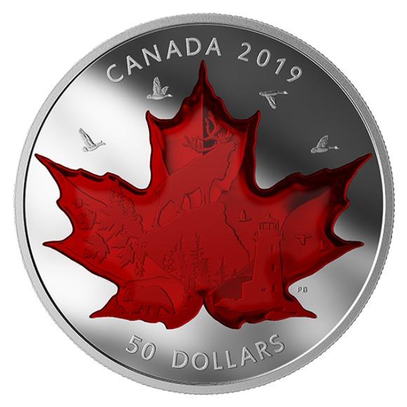 2019 カナダ 古典的カナダ像 銀貨 5オンス  プルーフ 箱とクリアケース付き 新品未使用