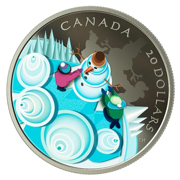 2019 カナダ 神秘的な雪の日 銀貨 1オンス  プルーフ 箱とクリアケース付き 新品未使用