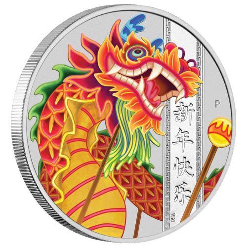 2019 ツバル 中華新年 銀貨 1オンス プルーフ 箱とクリアケース付き 新品未使用