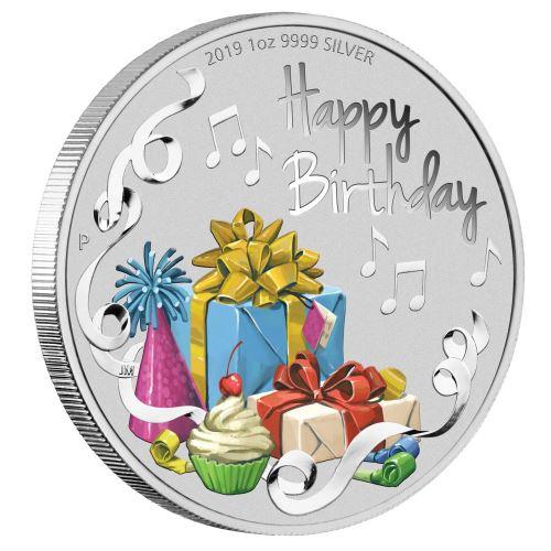 2019 オーストラリア 誕生日のお祝い 銀貨 1オンス プルーフ カード型ケース付き 新品未使用