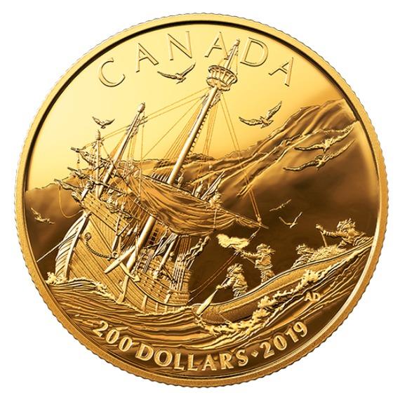 2019 カナダ カナダの草創期:ヨーロッパ人の到着 金貨 プルーフ 箱とクリアケース付き 新品未使用