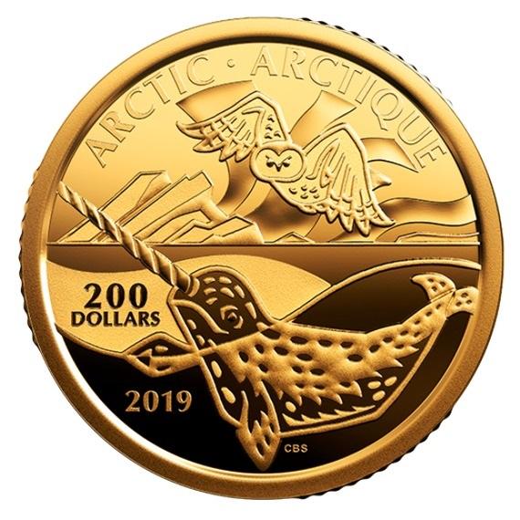 2019 カナダ カナダ沿岸のシンボル達:北極海 99.999%金貨 1オンス プルーフ 箱とクリアケース付き 新品未使用