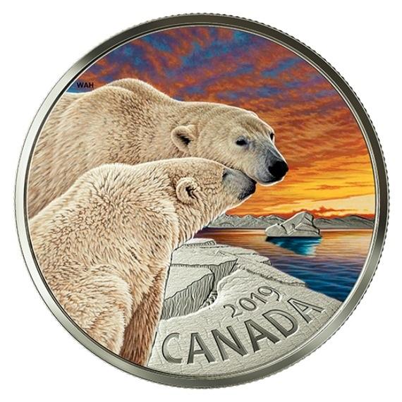 2019 カナダ カナダの動物:ホッキョクグマ 銀貨 1オンス 彩色プルーフ 箱とクリアケース付き 新品未使用