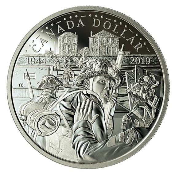 2019 カナダ ノルマンディー上陸作戦75周年記念 銀貨 プルーフ 箱とクリアケース付き 新品未使用