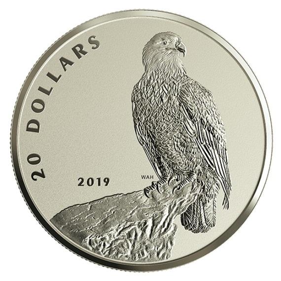2019 カナダ 猛禽:ハクトウワシ 銀貨 1オンス プルーフ 箱とクリアケース付き 新品未使用