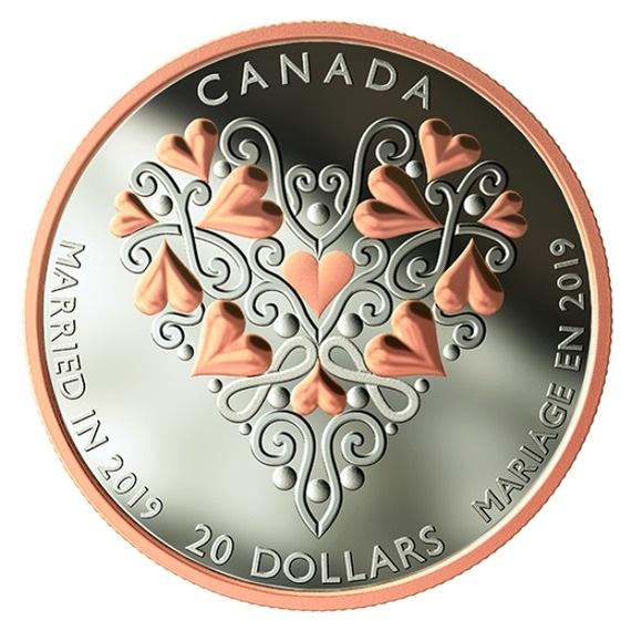 2019 カナダ 結婚ご祝儀 銀貨 1オンス プルーフ 箱とクリアケース付き 新品未使用