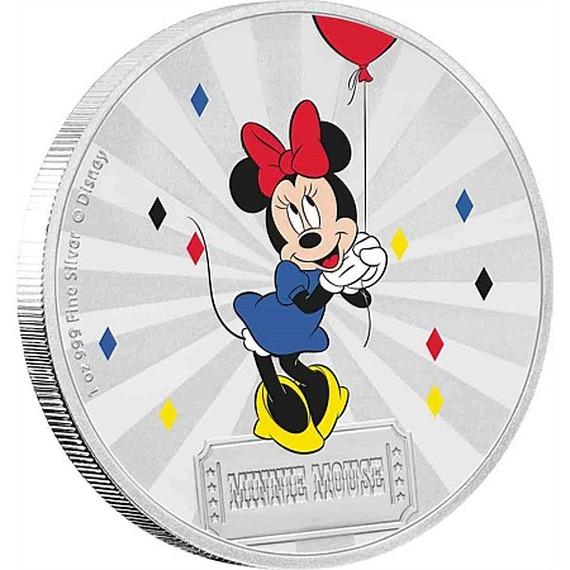 2019 ニウエ ミッキー&フレンズ カーニバル:ミニーマウス 銀貨 1オンス 彩色プルーフ 箱とクリアケース付き 新品未使用