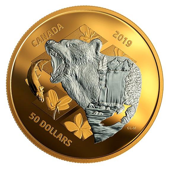 2019 カナダ 内なる自然:ハイイログマ 銀貨 5オンス 金メッキ プルーフ 箱とクリアケース付き 新品未使用