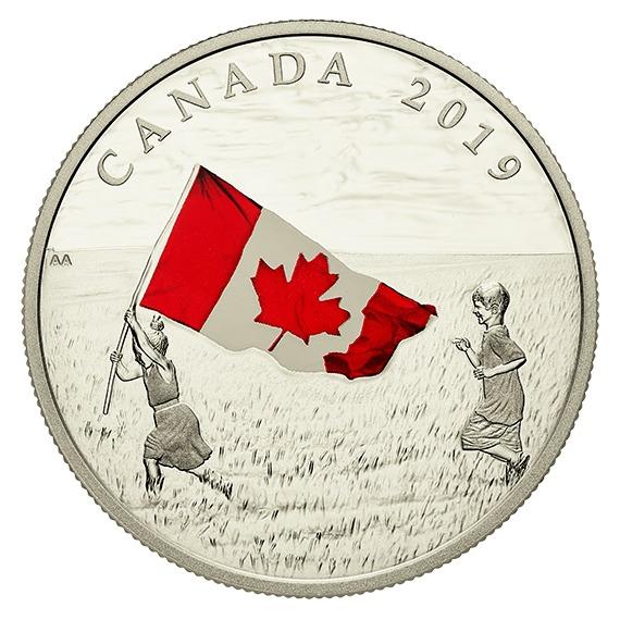 2019 カナダ カナダ国旗 銀貨 1オンス プルーフ 箱とクリアケース付き 新品未使用