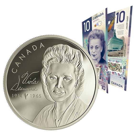 2019 カナダ ヴァイオラ・デズモンド 銀貨・紙幣セット 1オンス プルーフ 箱とクリアケース付き 新品未使用