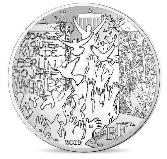 2019 フランス ベルリンの壁崩落30周年記念 100ユーロ 銀貨 コインホルダー付き 新品未使用