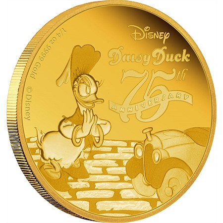 新品未使用 2015 オーストラリア Daisy Duck 75th Anniversary 金貨1/4オンス プルーフ 箱付き
