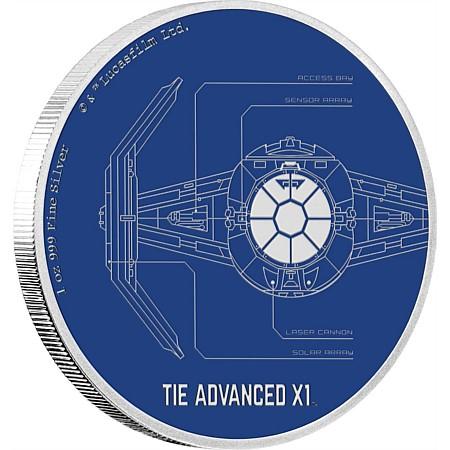 新品未使用 2017 ニュージーランド 1オンス銀貨 スターウォーズ TIE Advanced X1 (箱と説明書付)