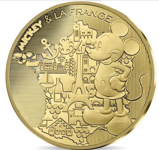 新品未使用 2018 フランス ディズニー ミッキー金貨 LA FRANCE プルーフ