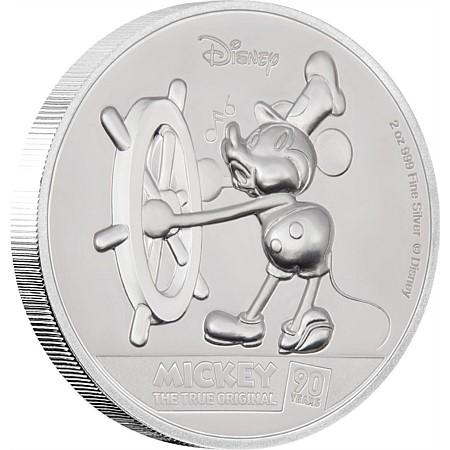 2018 ニウエ ミッキーマウス90周年記念 銀貨 ウルトラハイレリーフ 2オンス プルーフ 箱とクリアケース付き 新品未使用