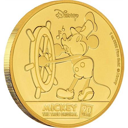 2018 ニウエ ミッキーマウス90周年記念 金貨 1オンス プルーフ 箱とクリアケース付き 新品未使用