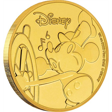 2018 ニウエ ミッキーマウス90周年記念 金貨 1/4オンス プルーフ 箱とクリアケース付き 新品未使用
