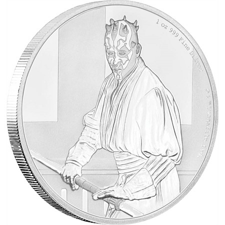 2018 ニウエ スターウォーズ・クラシック:ダースモール 銀貨 1オンス プルーフ 箱とクリアケース付き 新品未使用