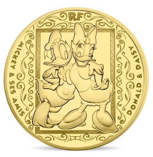 2018 フランス ミッキー&フレンズ 50ユーロ金貨 1/4オンス プルーフ クリアケース付き 新品未使用