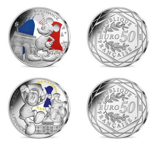 2018 フランス ミッキーとフランス 50ユーロ 銀貨2枚セット 彩色 クリアケース付き 新品未使用