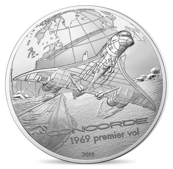 2019 フランス 飛行と歴史:コンコルド 銀貨 5オンス プルーフ 箱とクリアケース付き 新品未使用