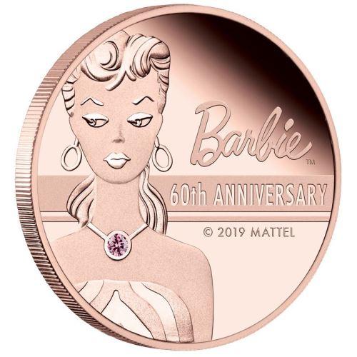 2019 ツバル バービー人形60周年記念ローズゴールド 金貨 2オンス プルーフ 箱とハンドバッグ型ケース付き 新品未使用