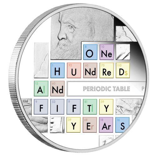 2019 ツバル 周期表150周年記念 銀貨 1オンス プルーフ 箱とクリアケース付き 新品未使用