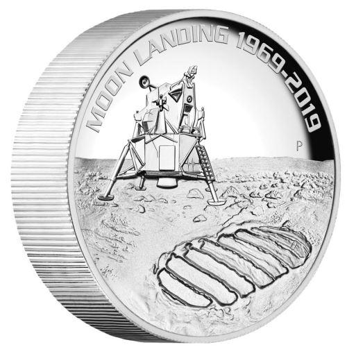 2019 オーストラリア 月面着陸50周年記念 銀貨 5オンス ハイレリーフ プルーフ 箱とクリアケース付き 新品未使用