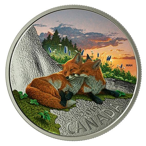2019 カナダ カナダの動物:キツネ 銀貨 1オンス プルーフ 箱とクリアケース付き 新品未使用