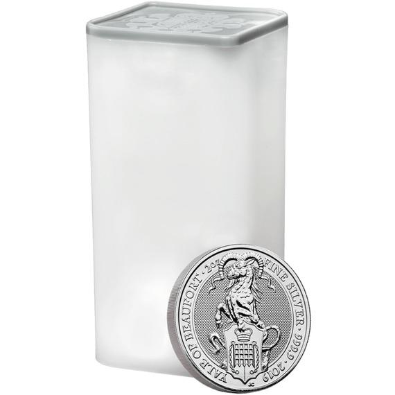 2019 イギリス クィーンズビースト:ボーフォートのエアレー 銀貨 2オンス 10枚セット コインチューブ付き 新品未使用