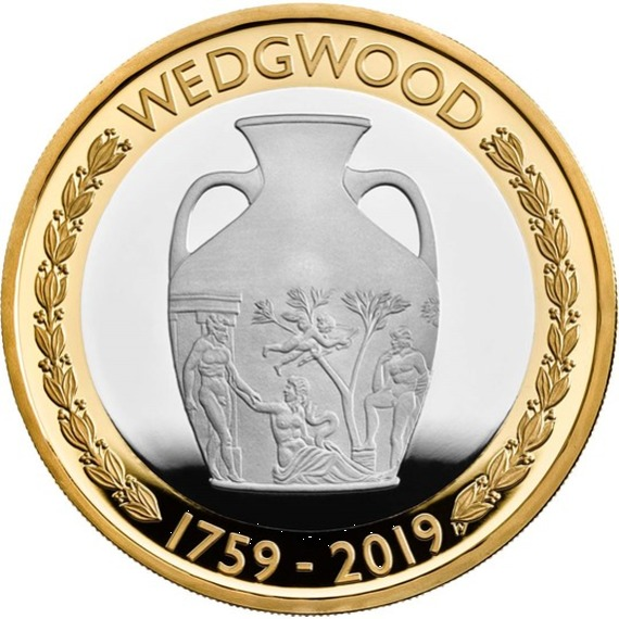 2019 イギリス ウェッジウッド創立260周年記念 2ポンド銀貨 プルーフ 箱とクリアケース付き 新品未使用