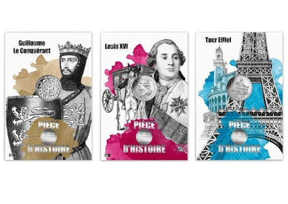 2019 フランス コインの歴史シリーズ2:征服王ギョーム、ルイ16世、エッフェル塔 10ユーロ銀貨3枚セット カード型ケース付き 新品未使用