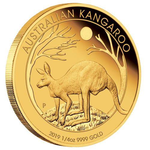 2019 オーストラリア カンガルー金貨 1/4オンス プルーフ 箱とクリアケース付き 新品未使用