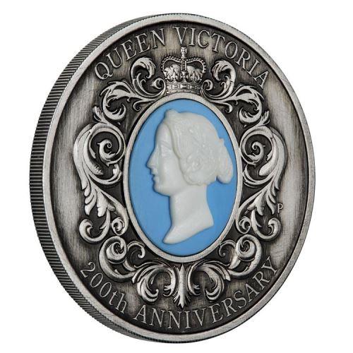 2019 オーストラリア ヴィクトリア女王生誕200周年記念 カメオ銀貨 2オンス アンティーク風 箱とクリアケース付き 新品未使用