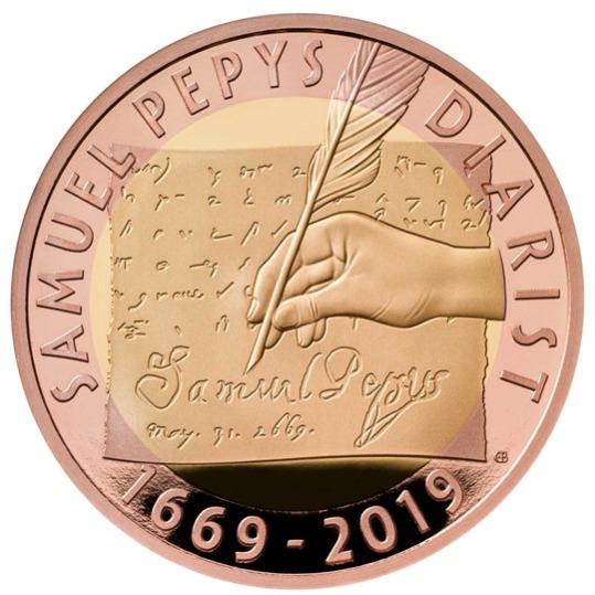 2019 イギリス サミュエル・ピープス 2ポンド金貨 プルーフ 箱とクリアケース付き 新品未使用