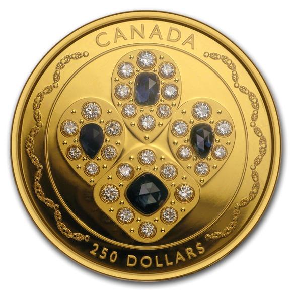 2019 カナダ エリザベス2世女王陛下のサファイア付きティアラ 金貨 2オンス プルーフ 箱とクリアケース付き 新品未使用