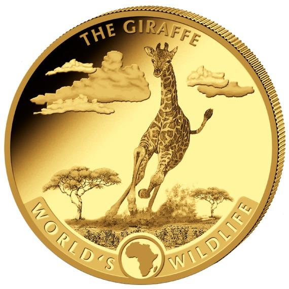 2019 コンゴ民主共和国 世界の野生生物#1:キリン 金貨 5オンス プルーフ 箱とクリアケース付き 新品未使用