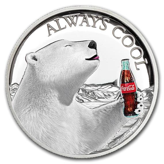 2019 フィジー コカ・コーラ ポーラーベア 銀貨 1オンス プルーフ 箱とケース付き 新品未使用